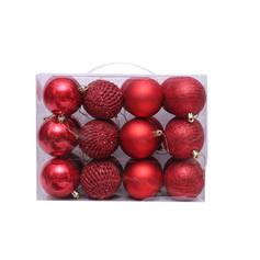 "feliz Natal 2.75"" 24 PCS PVC Decoração de Natal Bola (Conjunto de 24)"