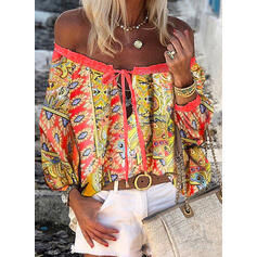 Print Off the Shoulder Long Sleeves Casual Blouses