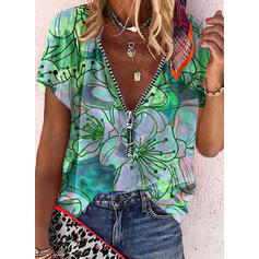 Print Floral V-Neck Short Sleeves Casual Blouses