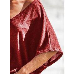 Μονόχρωμο V-λαιμός 1/2 Μανίκια Χωρίς Κουμπιά Κολάρου Καθημερινό Блузки
