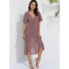 Print/Floral Short Sleeves A-line Asymmetrical Casual/Boho/Vacation Dresses