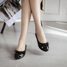 Femmes PU Talon plat Chaussures plates Bout fermé avec Bowknot chaussures