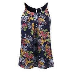 Floral Spaghetti Strap Sleeveless Casual Sexy Blouses