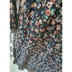 Print/Floral 1/2 Sleeves Shift Tunic Casual Midi Dresses