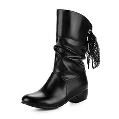 Frauen Kunstleder Stämmiger Absatz Geschlossene Zehe Stiefel Stiefel-Wadenlang mit Zuschnüren Schuhe