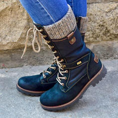 Women's PU Low Heel Boots Mid-Calf Boots With Zipper Lace-up shoes