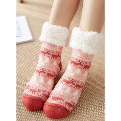 Imprimeu/Noel Ren geyiği Sıcak/Bayanlar/Noel/Crew Çorap/Kaymaz Çorap
