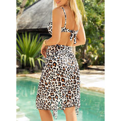 Leopard Print Strapless Sexy Fashionable Cover-ups Swimsuits