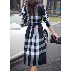Plaid Long Sleeves A-line Knee Length Elegant Dresses