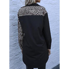 Leopard Long Sleeves Sheath Above Knee Casual Shirt Dresses