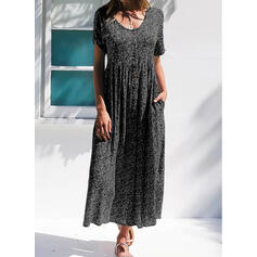 Print/Floral Short Sleeves A-line Skater Casual Maxi Dresses