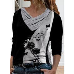 Color Block Løvetann Trykk Animal V-hals Lange ermer T-skjorter
