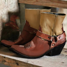 Kvinner PU Stor Hæl Mid Leggen Støvler med Spenne sko
