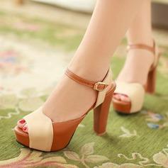 Femmes Similicuir Talon bottier Sandales Escarpins À bout ouvert Escarpins avec Boucle chaussures