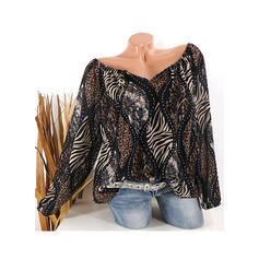 Print Leopard V-Neck Long Sleeves Casual Blouses