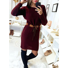 Solid Long Sleeves Bodycon Knee Length Casual Sweater Dresses