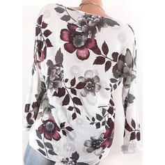 Print Floral V neck Long Sleeves Casual Blouses