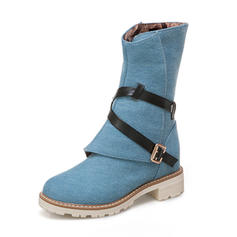 Women's Denim Low Heel Boots Knee High Boots With Buckle shoes