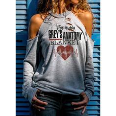 Nadruk Figura Serce Odkryte ramię Długie rękawy Casual Walentynki Bluzki