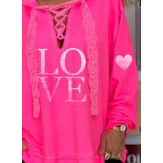Print Lace Long Sleeves Hoodie