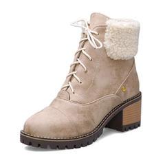 Kvinner Semsket Stor Hæl Ankelstøvler med Blondér sko