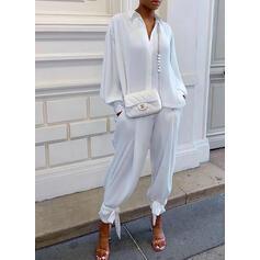 Solid Zarif gündelik Büyük beden blouse & İki Parça Kıyafetler Set ()
