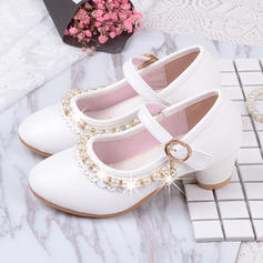 Girl's Patent Leather Low Heel Round Toe Closed Toe Flower Girl Shoes With Pearl