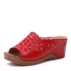 Pentru Femei Imitaţie de Piele Platforme Înalte Sandale Platformă Puţin decupat în faţă Şlapi cu De la gât înafară Floare pantofi
