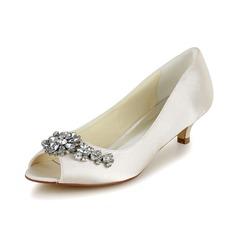 Frauen Satin Kegel Absatz Peep-Toe Sandalen mit Strass