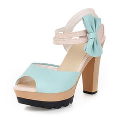 Women's Leatherette Stiletto Heel Sandals Pumps Platform Peep Toe Slingbacks With Bowknot shoes