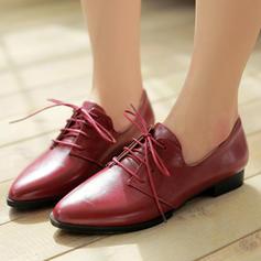 Femmes PU Talon plat Chaussures plates Plateforme avec Dentelle chaussures