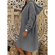 Solid Waffle Knit Chunky knit Hooded Sweater Dress