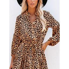Leopardo Manga Larga Acampanado Sobre la Rodilla Casual Patinador Vestidos