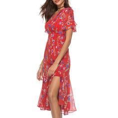 Print/Floral Short Sleeves A-line Midi Boho/Vacation Dresses