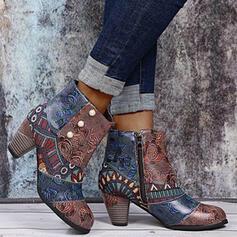 De mujer PU Tacón ancho Botas con Perlas de imitación Cremallera Floral zapatos