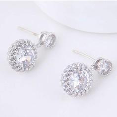 Glänzende Zirkon Kupfer mit Zirkon Frauen Art-Ohrringe