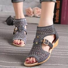 Femmes Pailletes scintillantes Talon plat Sandales avec Boucle chaussures