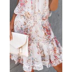 Nadrukowana/Kwiatowy Krótkie rękawy W kształcie litery A Nad kolana Casual/Wakacyjna Łyżwiaż Sukienki