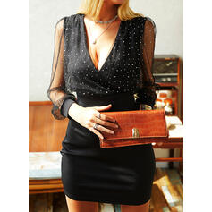 Sequins/Solid Long Sleeves/Puff Sleeves Bodycon Above Knee Little Black/Party/Elegant Dresses