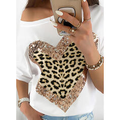 Print Sequins Leopard One-Shoulder Short Sleeves Casual T-shirts