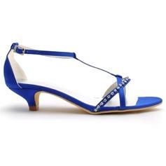 Frauen Satin Kegel Absatz Sandalen mit Schnalle Strass