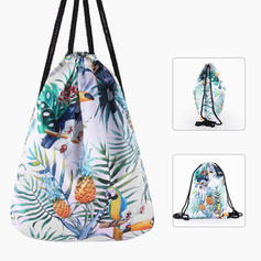 Womens Men Drawstring Casual Printed Vintage Backpacks