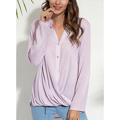 Einfarbig V-Ausschnitt 3/4 Ärmel Mit Knöpfen Freizeit Elegant Blusen