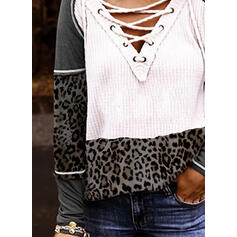 Bloque de color Leopardo Cuello en V Manga Larga Casual Blusas