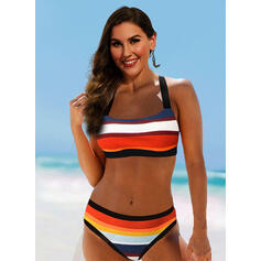 Stripe Splice color Halter Sexy Elegant Bikinis Swimsuits