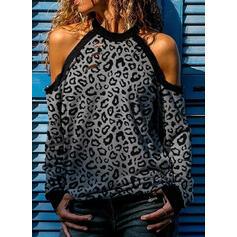 luipaard Cold Shoulder Lange Mouwen Casual Polka Prik Overhemd