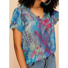 Print V Neck Short Sleeves Casual Blouses