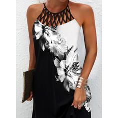 Imprimeu/Floral/Renkli klişe Kolsuz Shift Elbiseleri Până la Genunchi gündelik Elbiseler