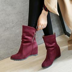 Femmes Suède Talon compensé Compensée Bottines avec Zip chaussures