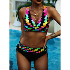 Hoge Taille Splice kleur Riem V-hals Vintage Grote maat Bikini's Badpakken